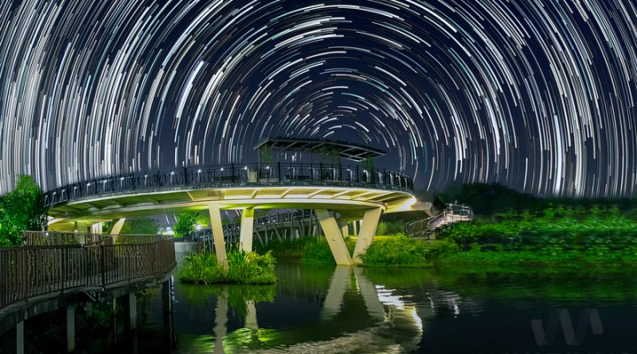 Star Trails of Sunrise Bridge in Punggol Waterway