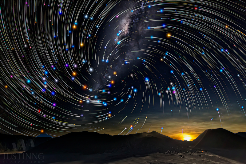 Star Trails and Milkyway of Mount Bromo