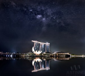140408-Milky Way above Marina Bay Sands Singapore with Reflection