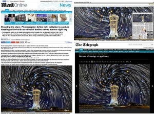Seletar star trails taken in Singapore published in The Times, The Telegraph and Mailonline