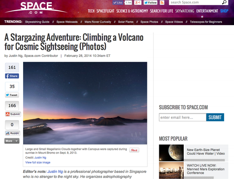 My debut astrophotography article (Mount Bromo) in Space.com!