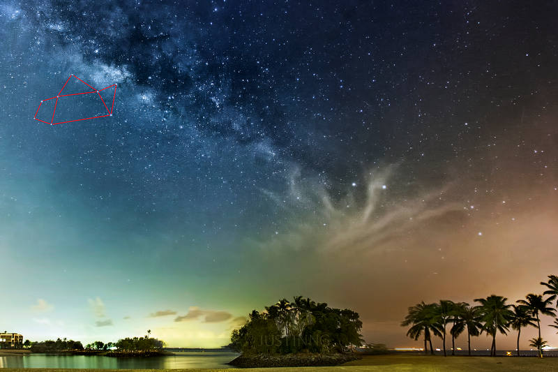 Constellation Sagittarius in Milky Way at Sentosa Singapore