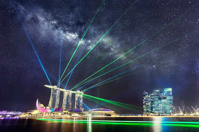 21 July 2014 - Rising Milky Way above Marina Bay Sands Hotel and Spectacular Laser Show