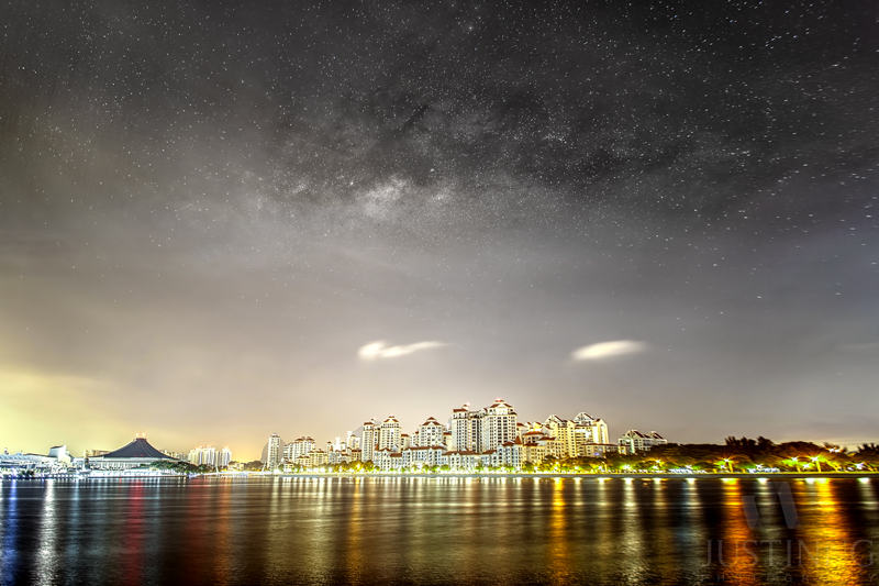 14 April 2015 - Milky Way rising above Singapore Indoor Stadium