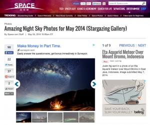 Eta Aquarid Meteor at Mount Bromo featured in Space.com