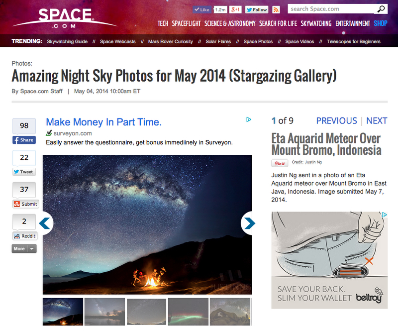 Eta Aquarid Meteor at Mount Bromo featured in Space.com