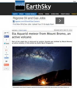 Eta Aquarid Meteor at Mount Bromo featured in Earth Sky