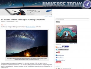 Eta Aquarid Meteor at Mount Bromo featured in Universe Today
