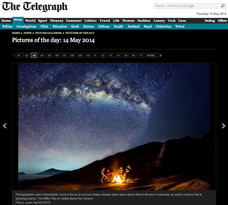 Eta Aquarid Meteor Captured in Mount Bromo Published in The Telegraph