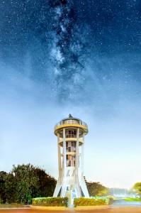 8 June 2014 - Rising Milky Way above Rocket Tower at Upper Seletar Reservoir Park