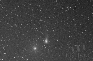 Shooting star above C/2012 K1 PanSTARRS
