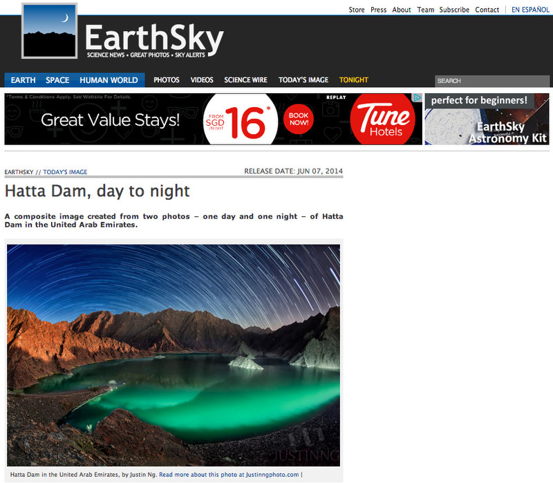Trails of Hatta Dam Published in EarthSky