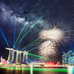 26 July 2014 – National Day Parade (NDP) Rehearsal Fireworks with Rising Milky Way above Laser Show at Marina Bay Sands