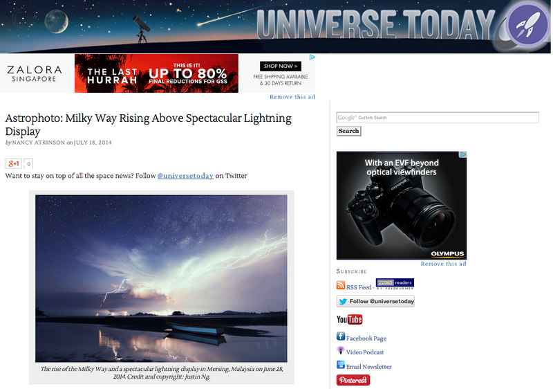 18 July 2014 - Rising Milky Way above Spectacular Lightning Display featured in Universe Today