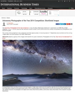Astronomy Photographer of the Year 2014 Shortlist