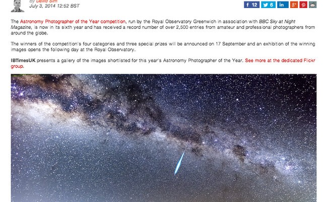 Astronomy Photographer of the Year 2014: Shortlisted Image
