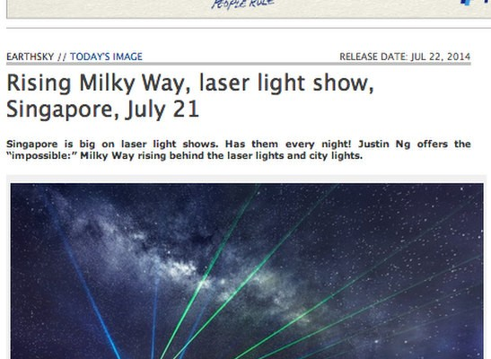 Rising Milky Way above Marina Bay Sands Hotel and Laser Show Published in EarthSky