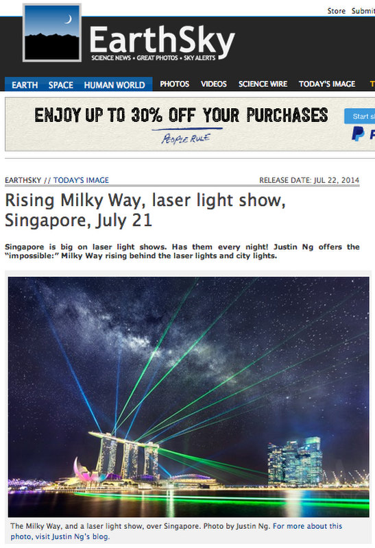 Rising Milky Way above MBS and Laser Show Published in EarthSky