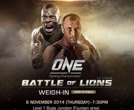 SINGAPORE: Official Weigh-in for ONE FC: BATTLE OF LIONS on 6 November 2014