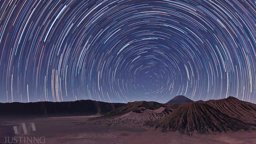 13 Aug 2012 - Star Trails above Mount Bromo