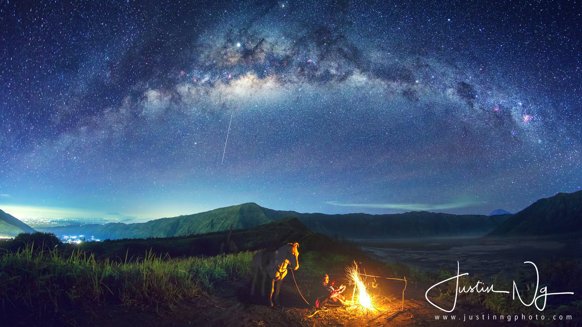 2019 Campfire under Arching Milky Way at Mount Bromo