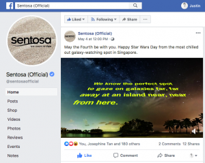 Milky Way at Sentosa Singapore used in Social Media Ad