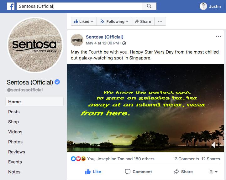 Milky Way at Sentosa Singapore used in Social Media Ad